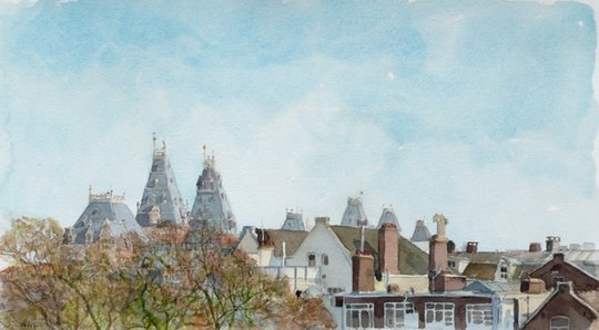 Bram Stoof _ Daklandschap met Rijksmuseum View with rooftops and the Rijksmuseum aquarel watercolour 22,5 x 44 cm 2012